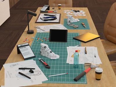 Nike Lab motion design animation octane c4d cinema 4d room interiordesign design notebook ipad apple architecture shoes mercurial nike