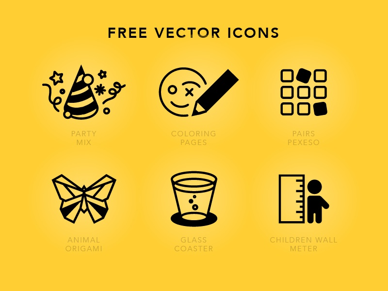 Icons icons vector free children party pencil pairs origami butterfly glass coaster meter
