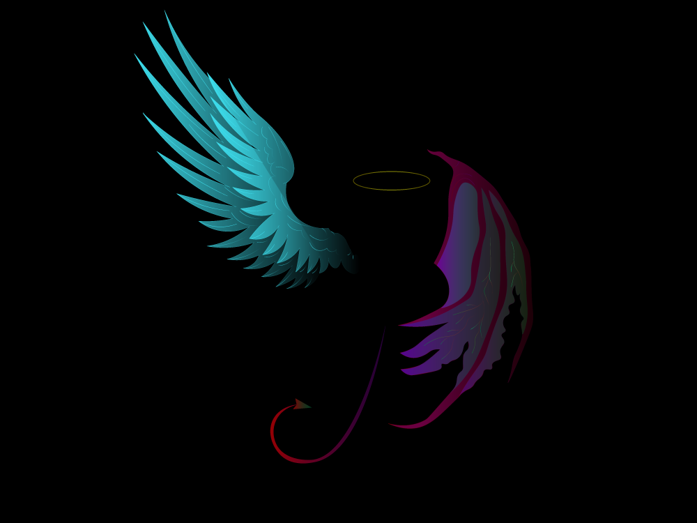 Fallen Angel halo wings wing tails tail purple black and red green blue illustration illustrator black fallen angel devil demon angel