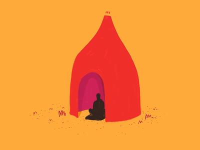 Meditation hut creation fun structure bamboo mindfulness sketch colors autodesk design mediation