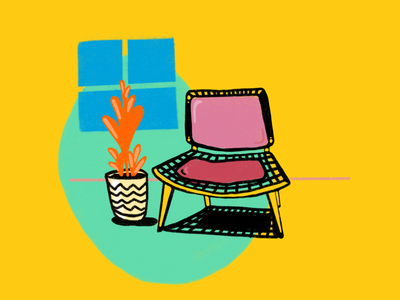 Chair of the day fun colors layout radical lifetakestime branding art illustration design furniture