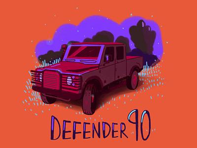 Defender 90 branding illustration lifetakestime color land rover defender90 art design