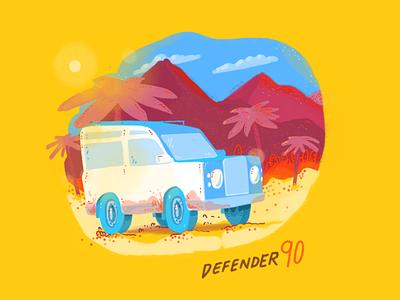 Hot ride tropics car truck colors radical lifetakestime art sketch illustration design defender
