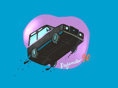 Defender 90 get'n air radical air ramp fun landrover defender90 trucks cars colors lifetakestime art artist sketch illustration design
