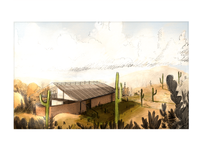 Desert getaway watercolor cactus desert architect architecture branding art sketchbook autodesk sketch illustration design ipad