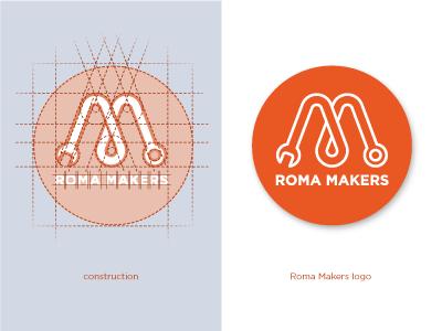 FabLab Roma Makers logo maker logo construction fablab electronic brand identity mark icon badge art direction wrench
