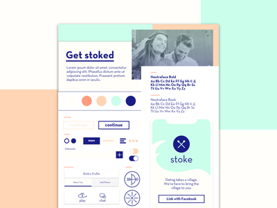 Style Tile dating app atomic ui style guide style typography icon design style tiles
