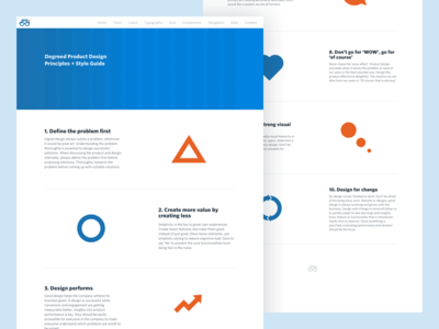 Degreed Product Design Principles principles design web orange blue minimal grid clean style-guide