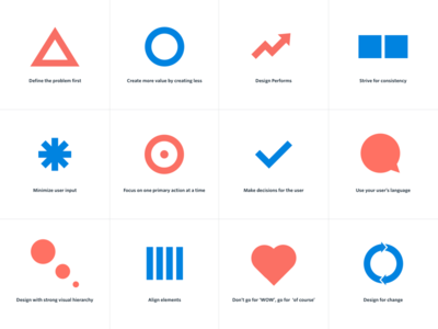 Product Design Principles clean minimal blue icons design principles