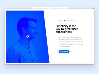 wouterdebr.es - concept 1 website blue minimal clean portfolio