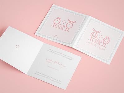 Twins! moose line illustration birth card print card announcement twins pink illustration baby birth