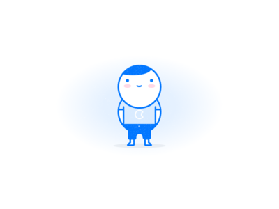 Buddy illustration buddy blue line character illustration