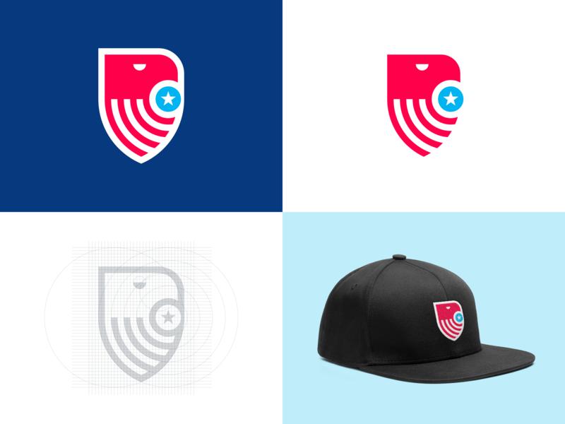 Vice.run Logo badge blue white red logo grid vice president usa america eagle americana symbol logo