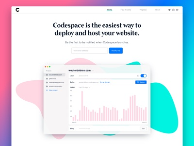 Codespace landing page has launched  🚀 minimal ui colorful coming soon website mac app clean landing page