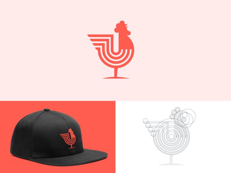 Rooster Logo cockerel geometric symbol animal logo grid logo rooster