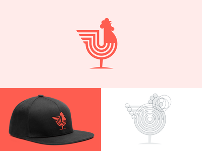 Rooster Logo cockerel geometric symbol animal logo grid logo rooster