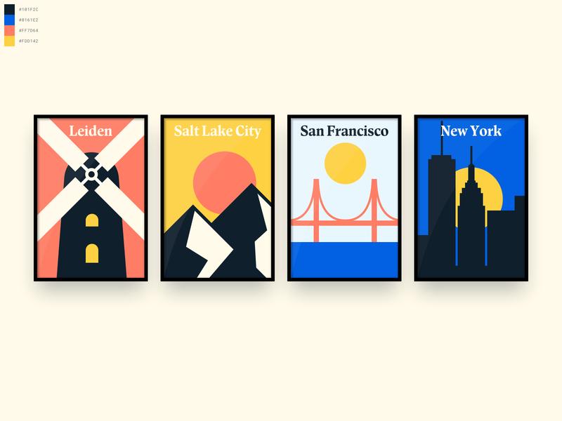 Degreed Office Location Posters golden gate bridge san francisco new york salt lake city windmill posyter minimal