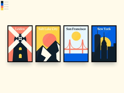 Degreed Office Location Posters golden gate bridge san francisco new york salt lake city windmill posyter minimal
