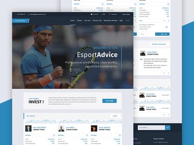 EsportAdvice - Homepage footer header testimonies stats bet webdesign website