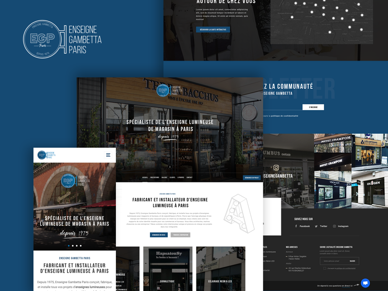 Enseigne Gambetta Paris ui design photoshop blue website web webdesign