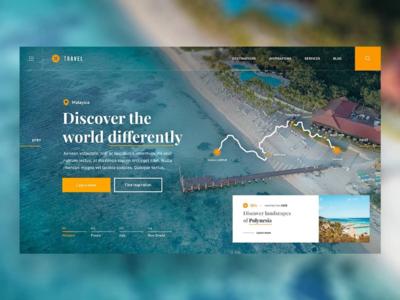 ✈️🏝️ Travel Guide — Website Concept landscapes travel website web webdesign orange ux ui dailyui dailyux uidesign dailywebdesign