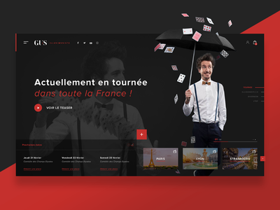 ☂️💻 Gus Illusionist — Website Concept dailywebdesign uidesign dailyux dailyui ui ux black red webdesign web website magician