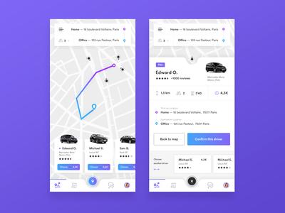 🚗🚕 Taxi — Mobile App uber dailyappdesign app appdesign purple web dailyui dailyux uidesign ux ui nature