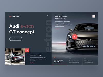 Audi e-tron GT Concept website webdesign web ux uidesign ui audi red car design dailywebdesign dailyux dailyui concept