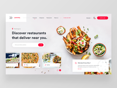 Yummy — Food Delivery Website Concept 🥑 landing page search concept dailyui dailyux dailywebdesign design food red uber eats ui uidesign ux web webdesign website