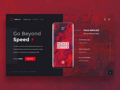 OnePlus 7 Pro — Landing Page ⭕️📱 mobile oneplus website webdesign web ux uidesign ui red design dailywebdesign dailyux dailyui concept search landing page
