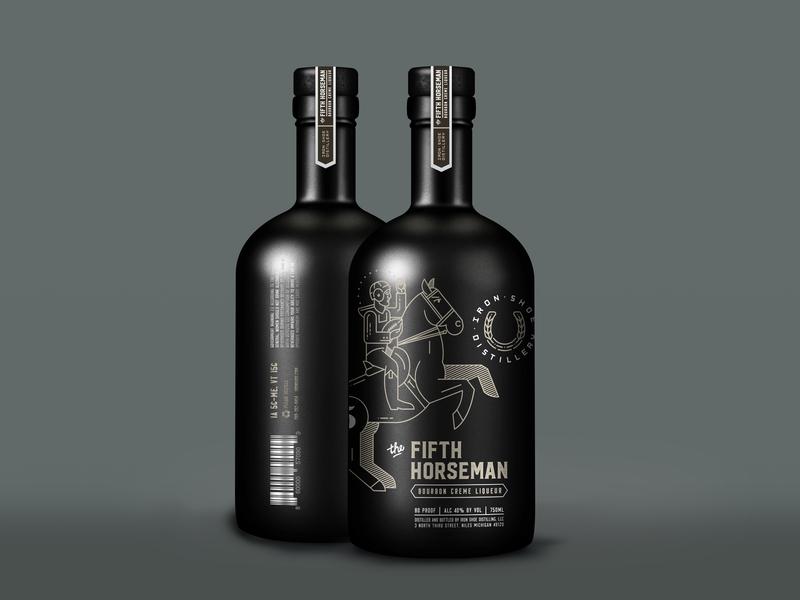 5th Horseman notre dame football bottle distillery liquor horseshoe horse line art design illustration