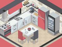 2D Isometric Kitchen Concept Design