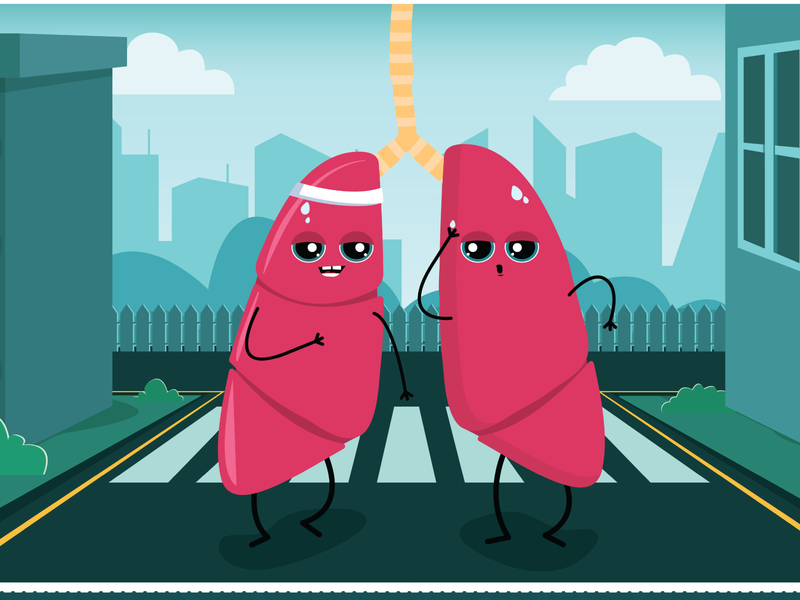 Twin Lungs character streets lungs animation motion graphics vector art vector illustration illustrator illustration art characterdesign