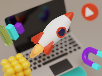 Space rocket notebook rocket branding blender b3d 3d illustration