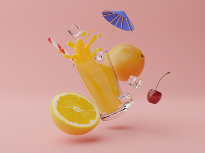 Cocktail - 3D illustration for website branding glass drink cocktail ice cubes cherry cocktail umbrella orange juice blender b3d 3d illustration