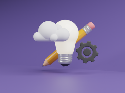 Creativity - 3D Illustration rendering render creative cogwheel cloud pencil light bulb 3d illustration blender b3d 3d illustration