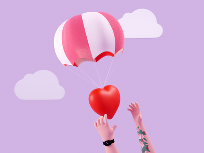 Supply - 3D illustration hands clouds apple watch tattoo supply parachute heart love render illustration blender 3d b3d 3d