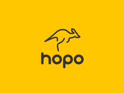 Daily logo challenge day 19/50, Kangaroo logo, hopo!