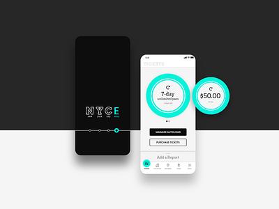 NYC Subway App landing screen splash screen mobile app wayfinding payment app brand identity app design ux ui design design thinking user research product design