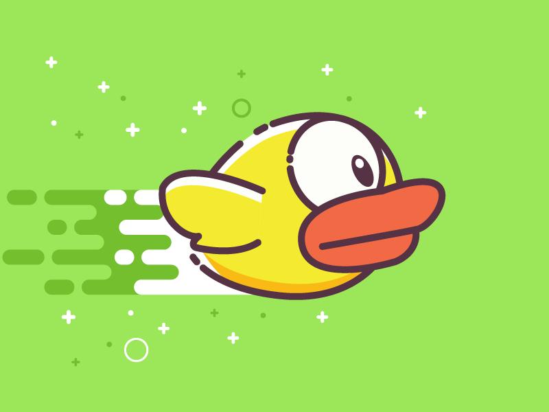 Flappy Bird game green yellow vector stroke illustration icon bird flappy