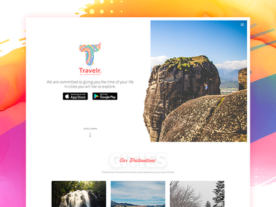 Travelr Landingpage ui color shadow card web homepage landing minimal travel