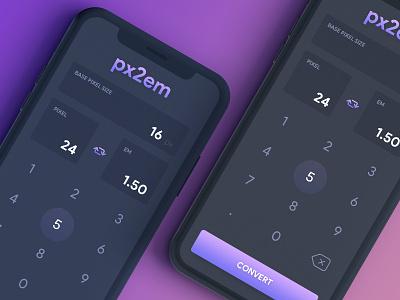 Calculator - Convert PX to EM darkmode simple ui app convert em pixel calculator