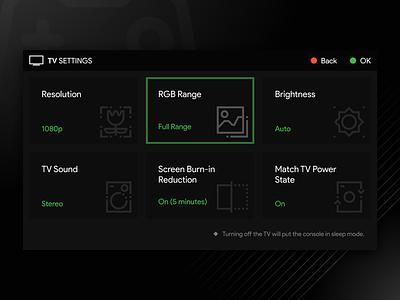 TV Setting sound brightness rbg resolution game daily ui mode setting tv