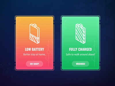 Flash Message - Battery dailyui color popup notification message charge battery
