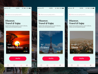 Discover the World app figma design ux ui