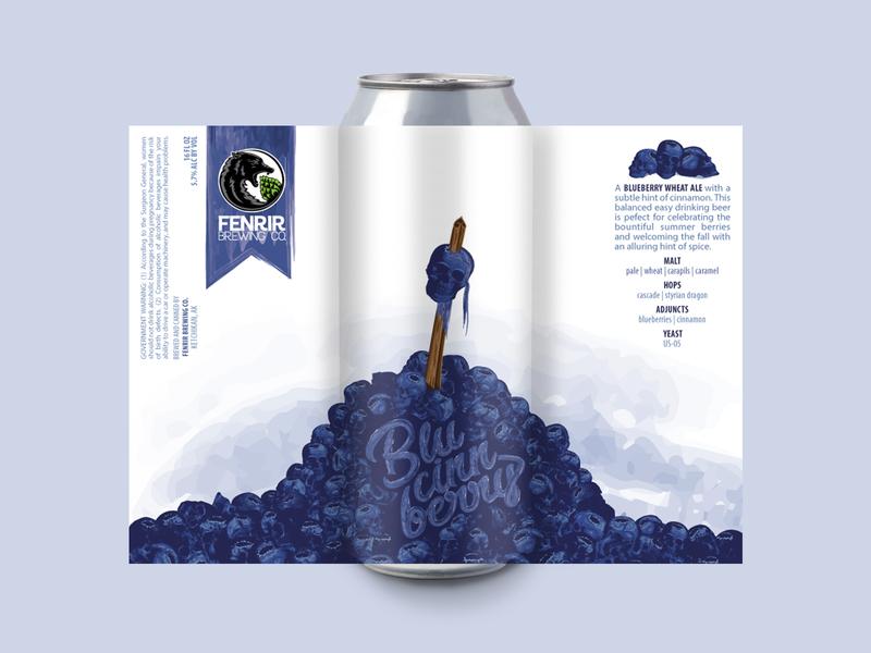 Blucinnberry digital art beer art illustrator vector label can beer craftbeer brewery branding design