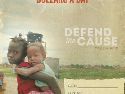 Defend the Cause poster handmade gritty grunge orphans christian texture haiti