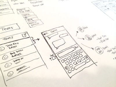 Rough App Sketches app ios iphone ux wireframe concept application chat text flow penpaper old school