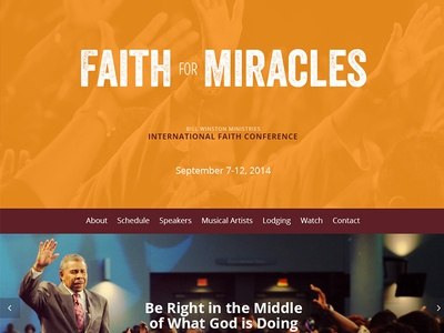 Conference Site Design single page website microsite landing page faith miracles responsive
