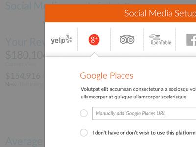 Social social media setup ui ux forms icons walkthrough
